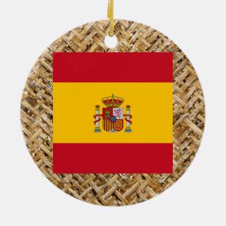 Bandera de España en la materia textil temática Adorno Navideño Redondo De Cerámica