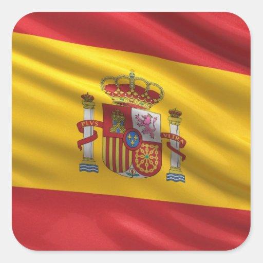 Bandera de España Calcomanías Cuadradass Personalizadas