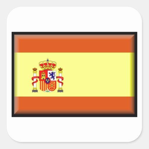 Bandera de España Pegatina Cuadradas Personalizada