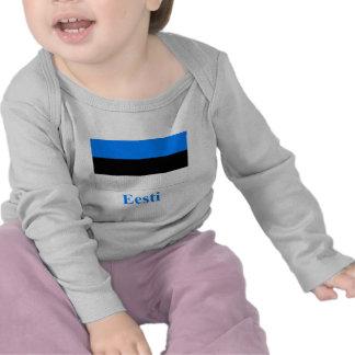 Bandera de Estonia con nombre en estonio Camiseta