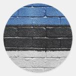 Bandera de Estonia Etiqueta Redonda