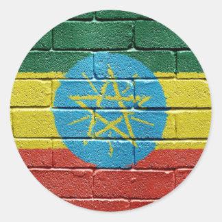 Bandera de Etiopía Etiqueta Redonda