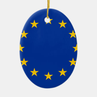 Bandera de Europa, bandera europea Adorno Navideño Ovalado De Cerámica