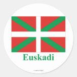 Bandera de Euskadi (País Vasco) con nombre Pegatina Redonda