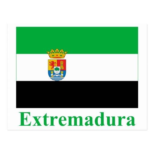 Bandera de Extremadura con nombre Postal