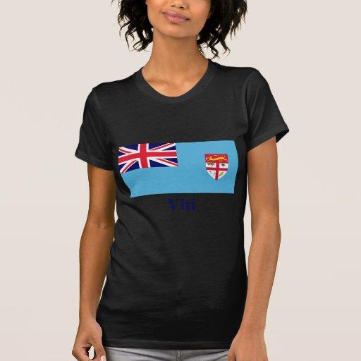 Bandera de Fiji con nombre en Fijian Camisetas