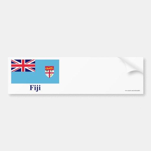 Bandera de Fiji con nombre Pegatina Para Auto