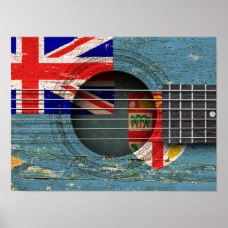 Bandera de Fiji en la guitarra acústica vieja Impresiones