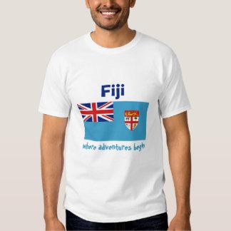 Bandera de Fiji + Mapa + Camiseta del texto Camisas