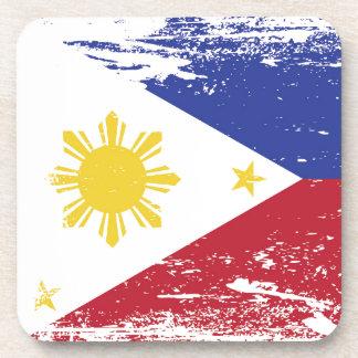 Bandera de Filipinas del Grunge Posavasos De Bebidas