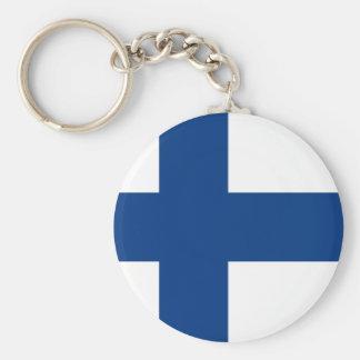 Bandera de Finlandia Llavero Redondo Tipo Pin