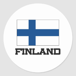Bandera de Finlandia Etiquetas Redondas