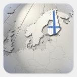 Bandera de Finlandia Pegatina Cuadrada
