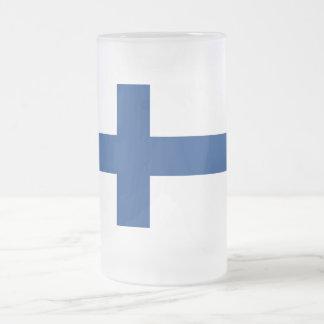 Bandera de Finlandia Taza De Cristal