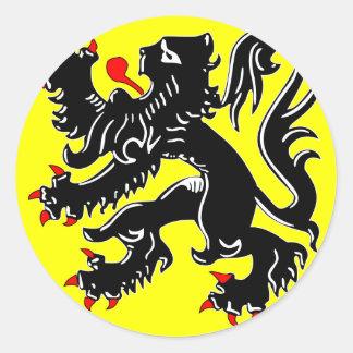 Bandera de Flandes, Bélgica Etiquetas Redondas