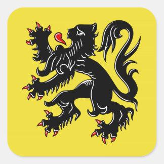 Bandera de Flandes (Bélgica) Calcomanía Cuadradas Personalizadas