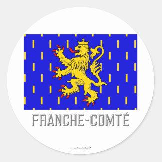Bandera de Franche-Comté con nombre Pegatina Redonda