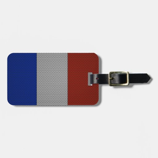 Bandera de Francia con efecto de la fibra de carbo Etiquetas Bolsa