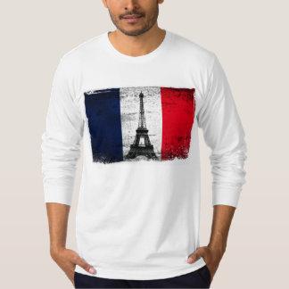 Bandera de Francia con la torre Eiffel Playera