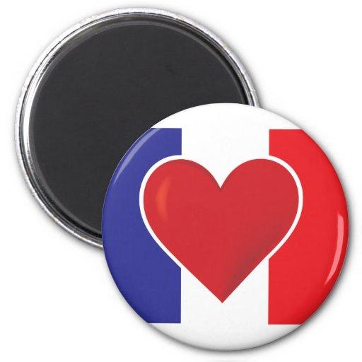 Bandera de Francia del corazón Imán Redondo 5 Cm