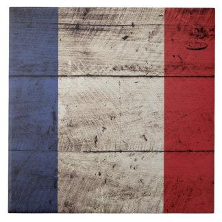 Bandera de Francia en grano de madera viejo Azulejo Cuadrado Grande