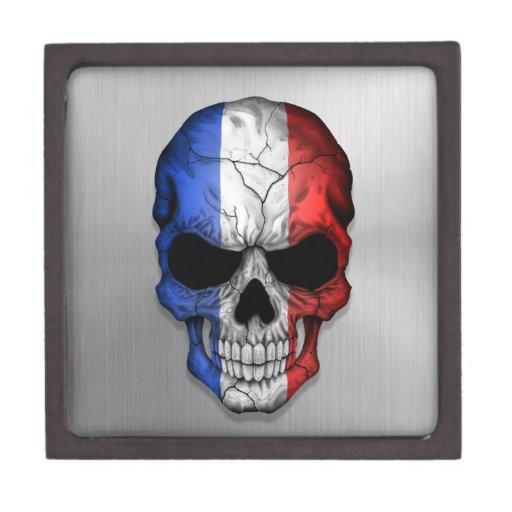 Bandera de Francia en un cráneo de acero Caja De Joyas De Calidad