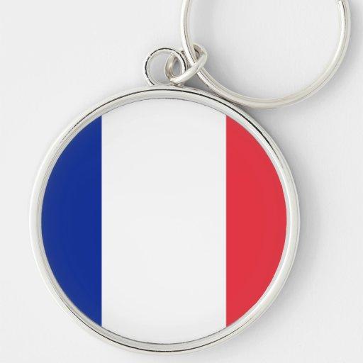 Bandera de Francia Llavero Redondo Plateado