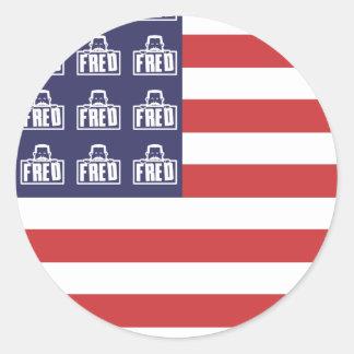 Bandera de Fred Pegatina Redonda