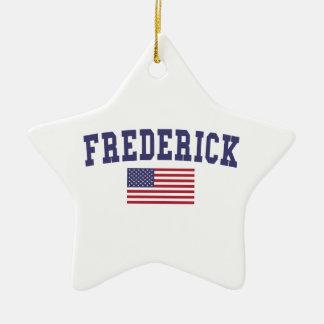 Bandera de Frederick los E.E.U.U. Adorno Navideño De Cerámica En Forma De Estrella
