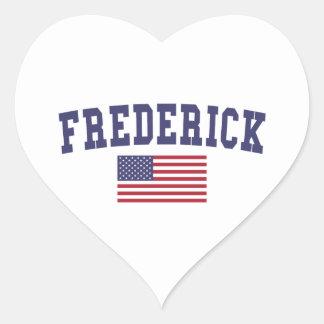 Bandera de Frederick los E.E.U.U. Pegatina En Forma De Corazón