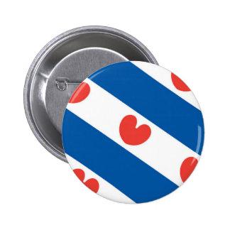 Bandera de Frisia Pin Redondo De 2 Pulgadas