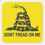 Bandera de Gadsden Pegatina Cuadrada