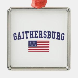 Bandera de Gaithersburg los E.E.U.U. Adorno Navideño Cuadrado De Metal