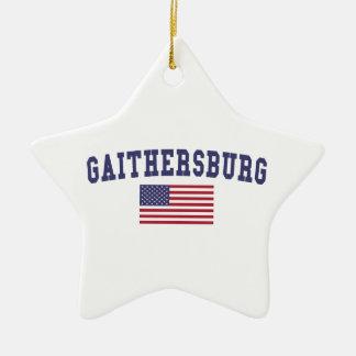Bandera de Gaithersburg los E.E.U.U. Adorno Navideño De Cerámica En Forma De Estrella