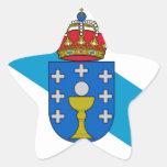Bandera de Galicia (España) Calcomanía Forma De Estrellae