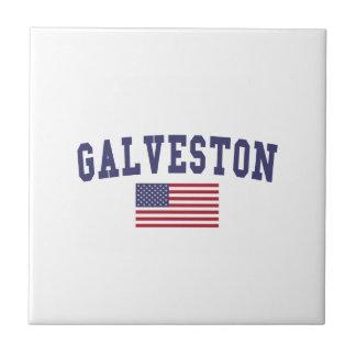 Bandera de Galveston los E.E.U.U. Azulejo Cuadrado Pequeño