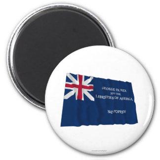 Bandera de George Rex -- ¡CAMPO AZUL CORREGIDO! Imanes Para Frigoríficos