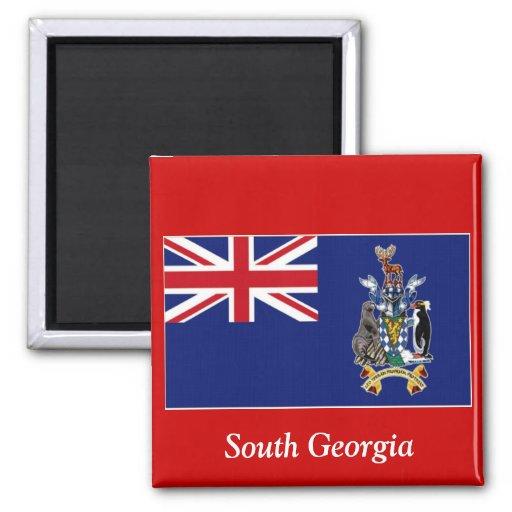 Bandera de Georgia del sur Imán Cuadrado