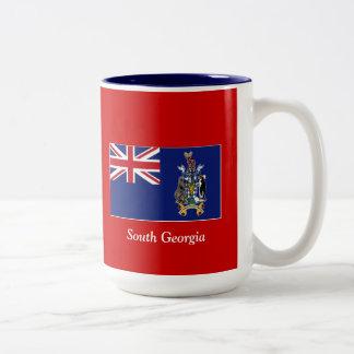 Bandera de Georgia del sur Taza De Dos Tonos