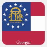 Bandera de Georgia Calcomania Cuadradas Personalizadas