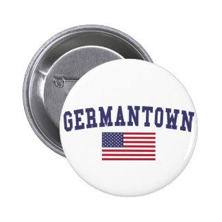 Bandera de Germantown los E.E.U.U. Pin Redondo De 2 Pulgadas
