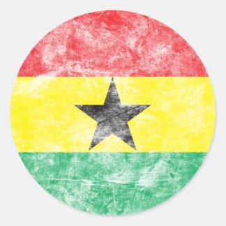 Bandera de Ghana del vintage Pegatina Redonda