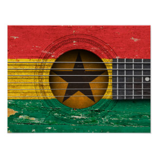 Bandera de Ghana en la guitarra acústica vieja Poster