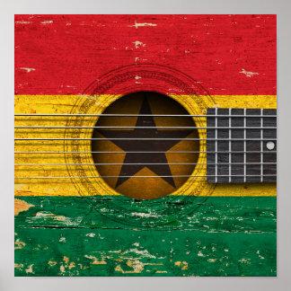 Bandera de Ghana en la guitarra acústica vieja Impresiones