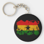 Bandera de Ghana Llavero Redondo Tipo Pin