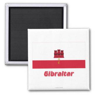 Bandera de Gibraltar con nombre Imán Cuadrado
