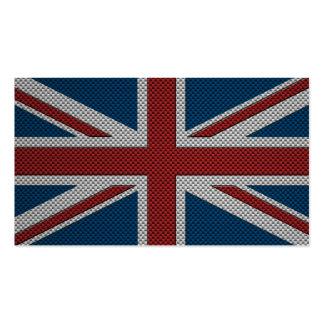 Bandera de Gran Bretaña con efecto de la fibra de  Tarjetas De Visita