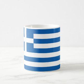 """Bandera de Grecia """"ΕΛΛΆΔΑ """" Taza Básica Blanca"""