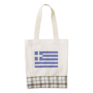 Bandera de Grecia (apenada) Bolsa Tote Zazzle HEART
