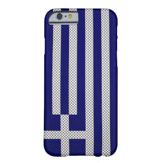 Bandera de Grecia con efecto de la fibra de Funda De iPhone 6 Barely There